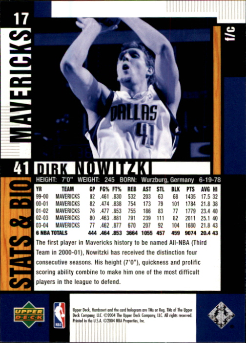 2004-05 Upper Deck Hardcourt #17 Dirk Nowitzki back image