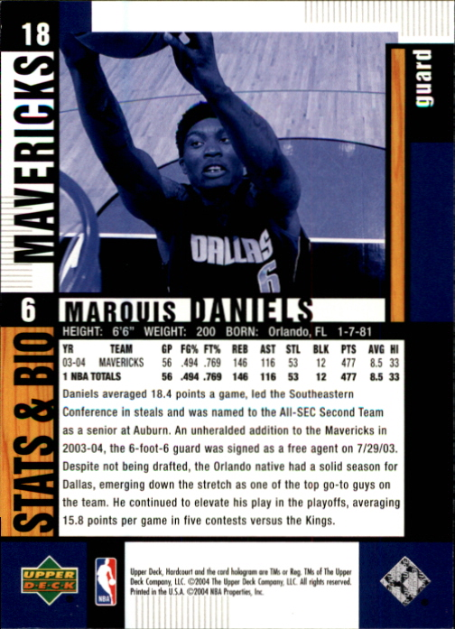 2004-05 Upper Deck Hardcourt #18 Marquis Daniels back image