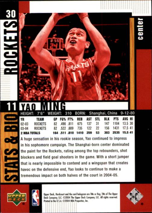 2004-05 Upper Deck Hardcourt #30 Yao Ming back image