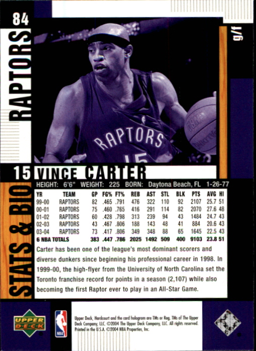 2004-05 Upper Deck Hardcourt #84 Vince Carter back image