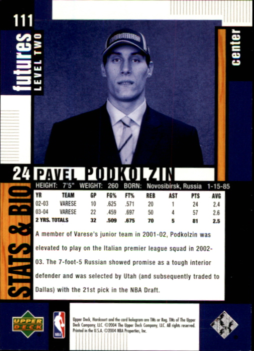 2004-05 Upper Deck Hardcourt #111 Pavel Podkolzin RC back image