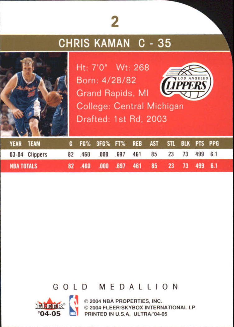 2004-05 Ultra Gold Medallion #2 Chris Kaman back image