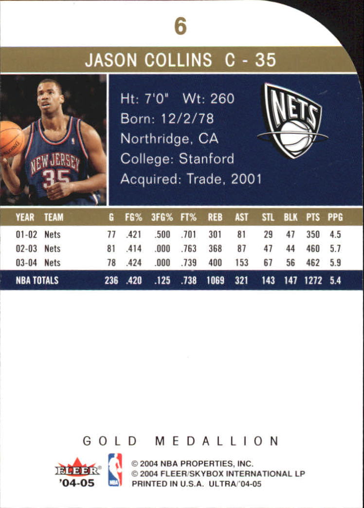 2004-05 Ultra Gold Medallion #6 Jason Collins back image