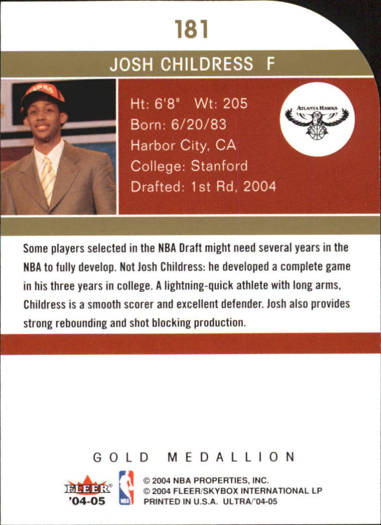 2004-05 Ultra Gold Medallion #181 Josh Childress L13 back image