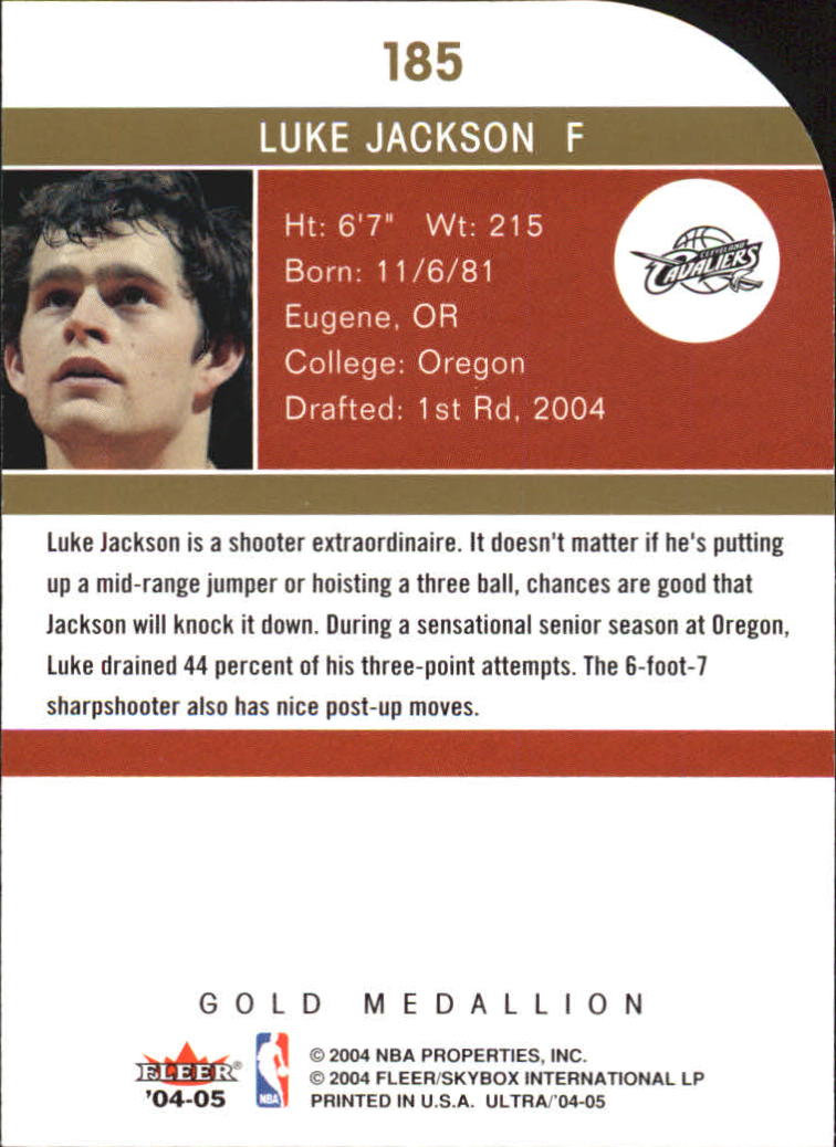 2004-05 Ultra Gold Medallion #185 Luke Jackson L13 back image
