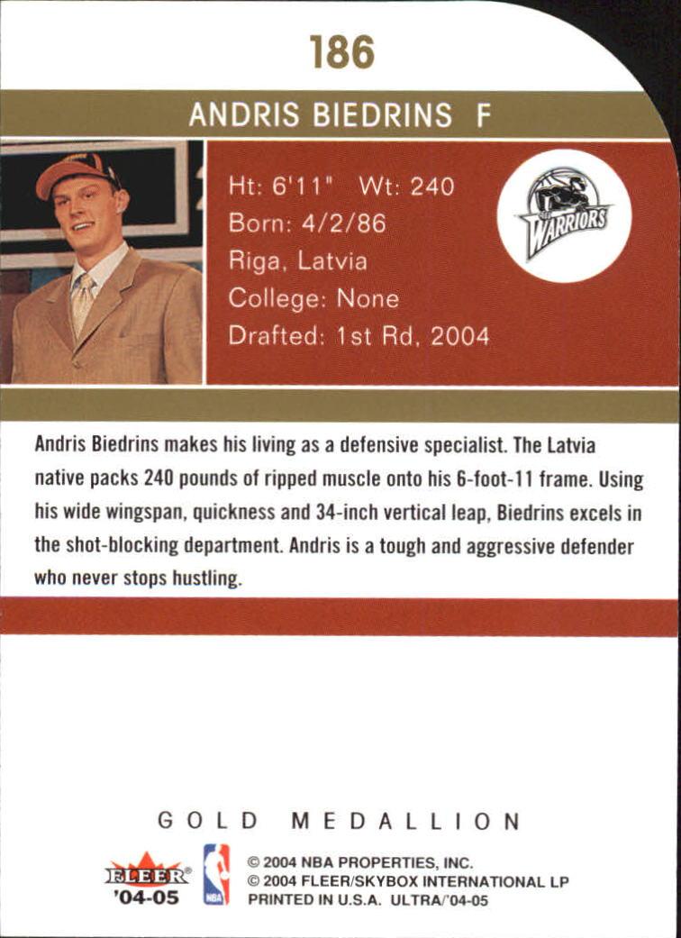 2004-05 Ultra Gold Medallion #186 Andris Biedrins L13 back image
