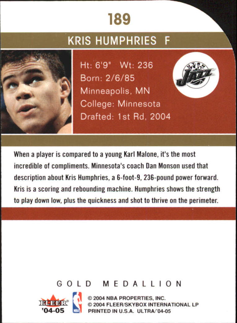 2004-05 Ultra Gold Medallion #189 Kris Humphries back image