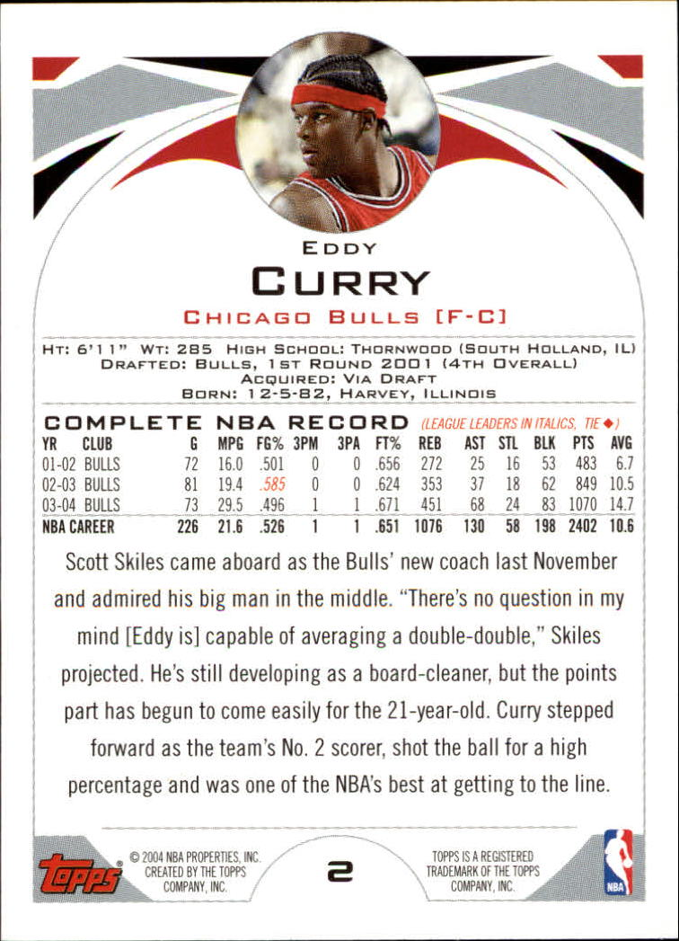 2004-05 Topps #2 Eddy Curry back image