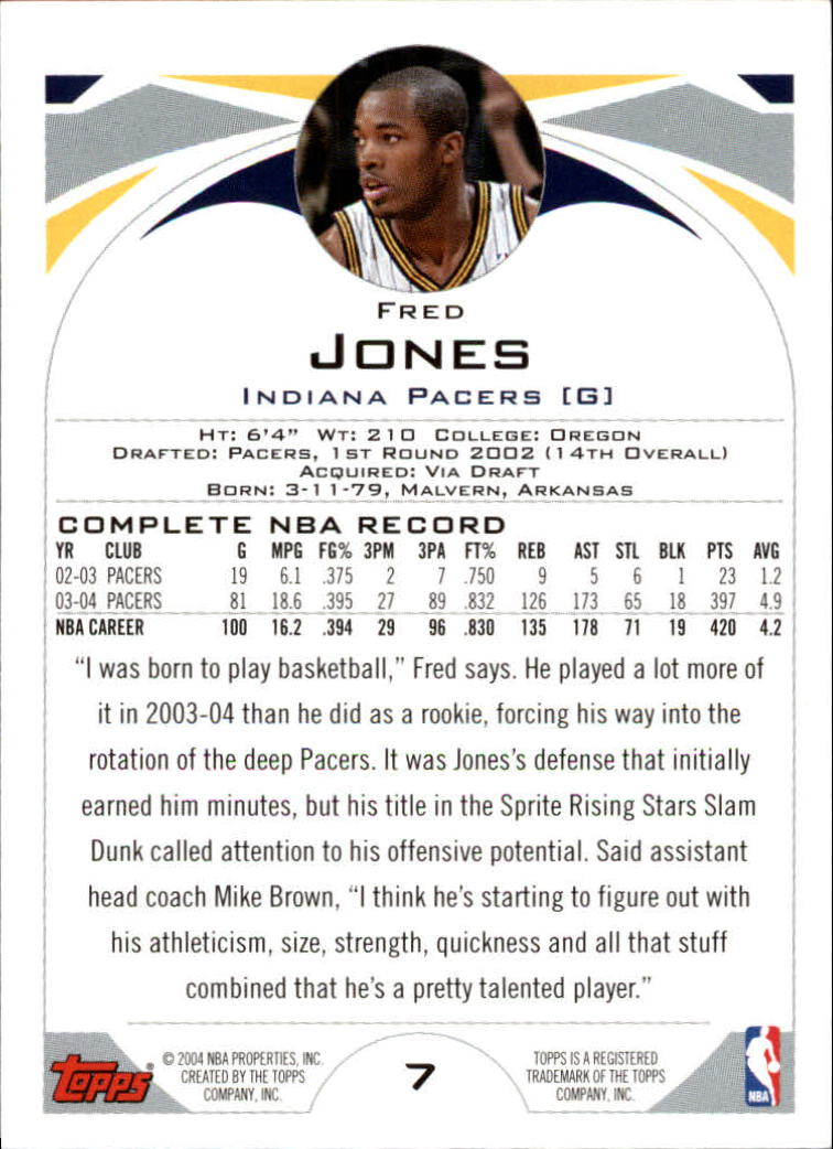 2004-05 Topps #7 Fred Jones back image