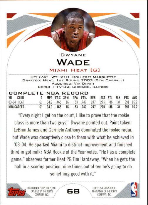 2004-05 Topps #68 Dwyane Wade back image
