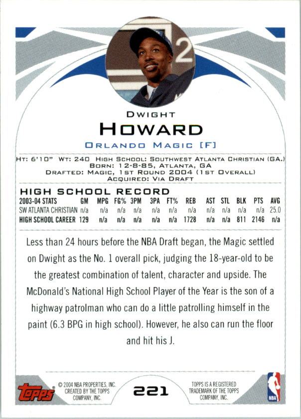 2004-05 Topps #221 Dwight Howard RC back image