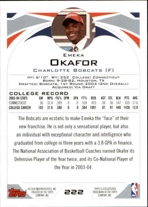 2004-05 Topps #222 Emeka Okafor RC back image