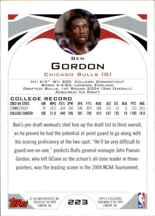 2004-05 Topps #223 Ben Gordon RC back image