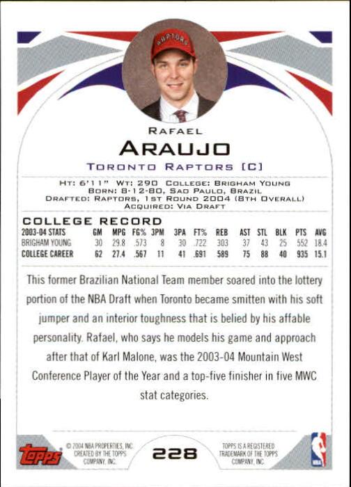 2004-05 Topps #228 Rafael Araujo RC back image