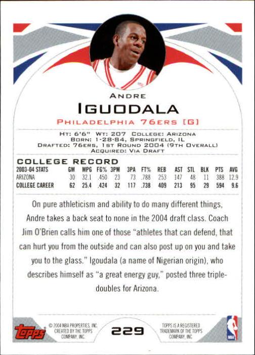 2004-05 Topps #229 Andre Iguodala RC back image