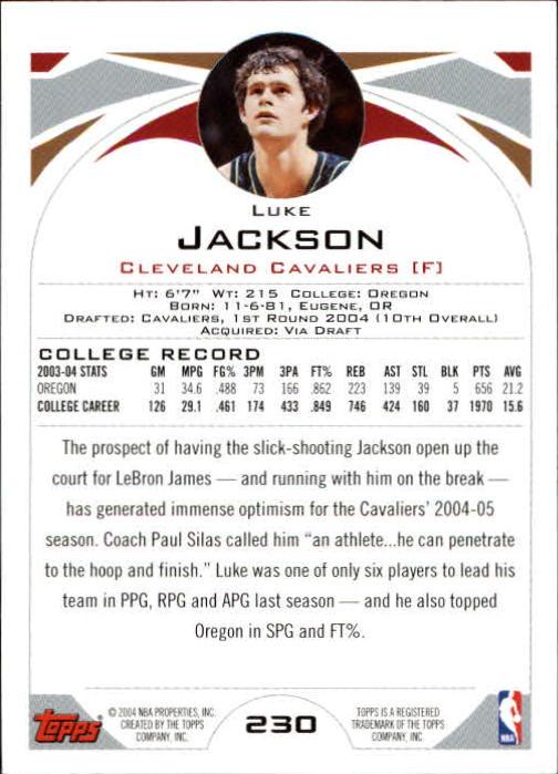 2004-05 Topps #230 Luke Jackson RC back image