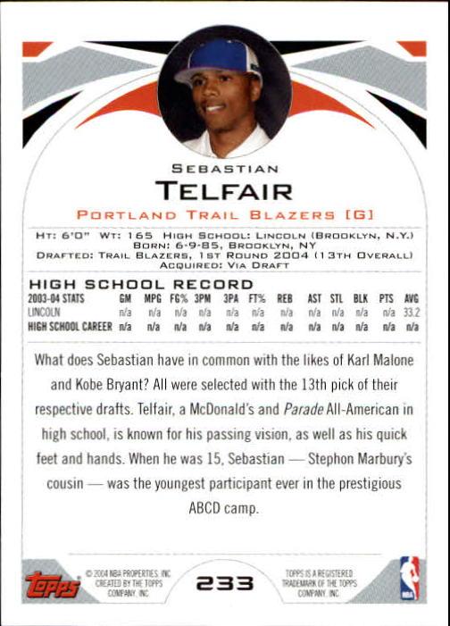 2004-05 Topps #233 Sebastian Telfair RC back image