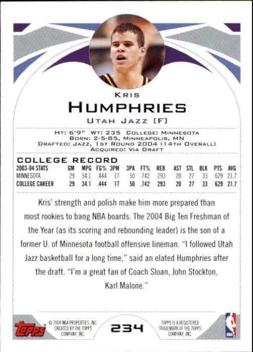 2004-05 Topps #234 Kris Humphries RC back image