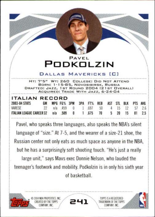 2004-05 Topps #241 Pavel Podkolzin RC back image