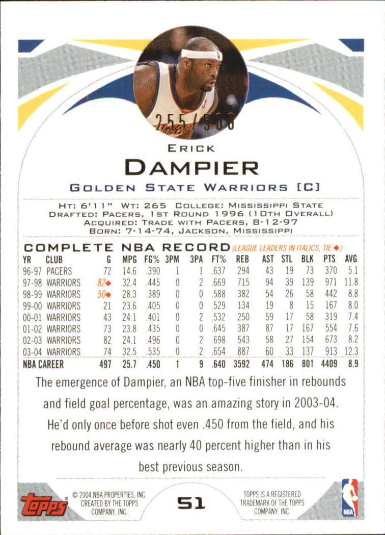 2004-05 Topps Black #51 Erick Dampier back image