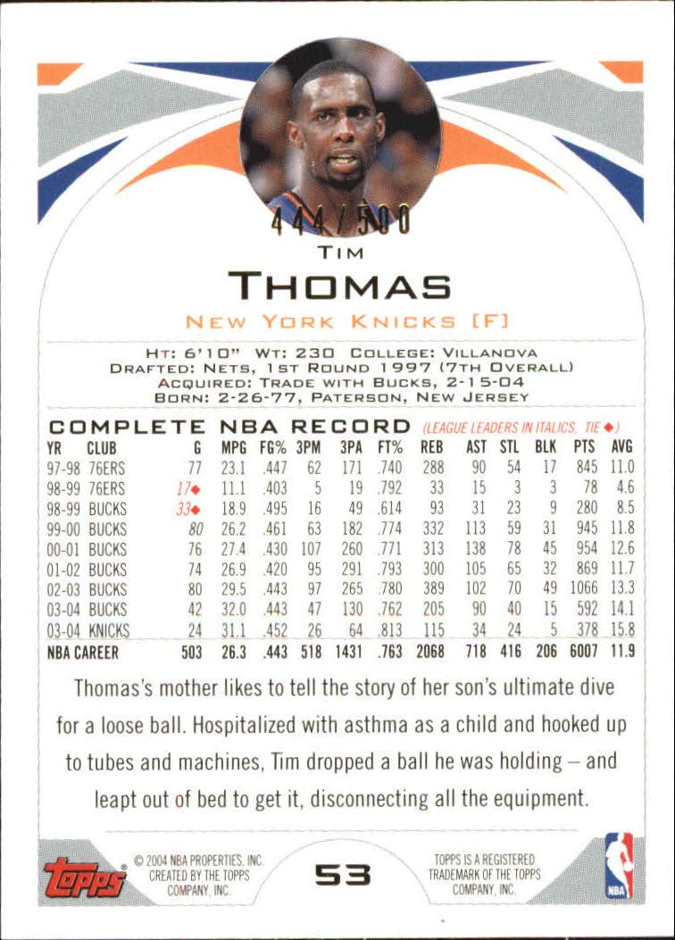 2004-05 Topps Black #53 Tim Thomas back image