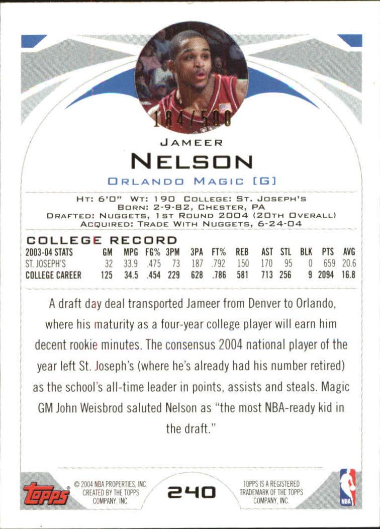 2004-05 Topps Black #240 Jameer Nelson back image