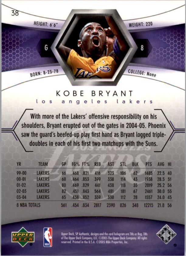 Verzamelkaarten: sport 2004-05 SP Authentic Kobe Bryant #38 Lakers