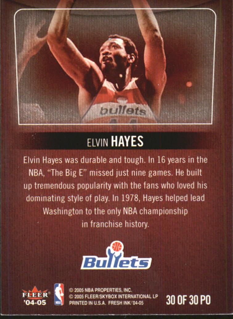 2004-05 SkyBox Fresh Ink Property Of #30 Elvin Hayes back image