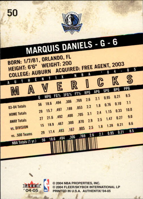 2004-05 Fleer Authentix #50 Marquis Daniels back image