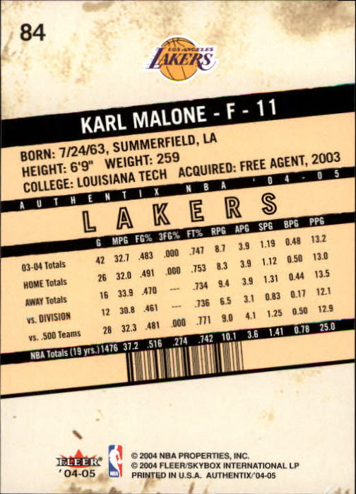 2004-05 Fleer Authentix #84 Karl Malone back image