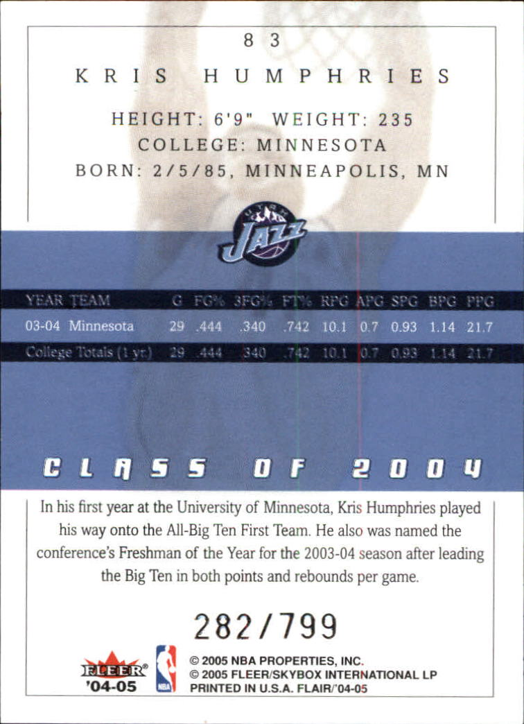 2004-05 Flair #83 Kris Humphries RC back image