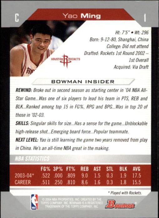 2004-05 Bowman #1 Yao Ming back image