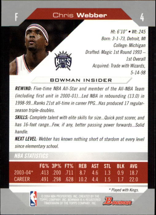 2004-05 Bowman #4 Chris Webber back image
