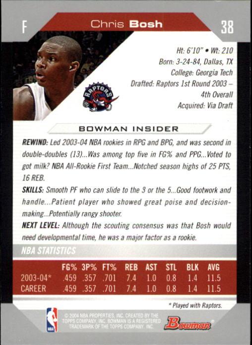 2004-05 Bowman #38 Chris Bosh back image