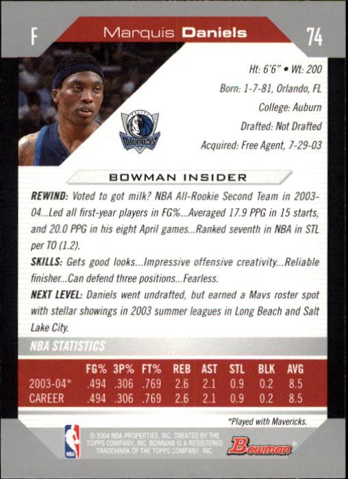 2004-05 Bowman #74 Marquis Daniels back image