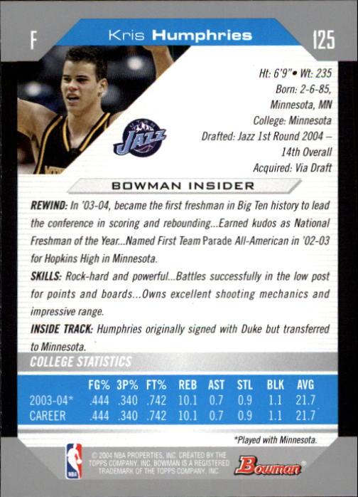 2004-05 Bowman #125 Kris Humphries RC back image