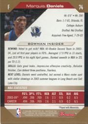 2004-05 Bowman Gold #74 Marquis Daniels back image