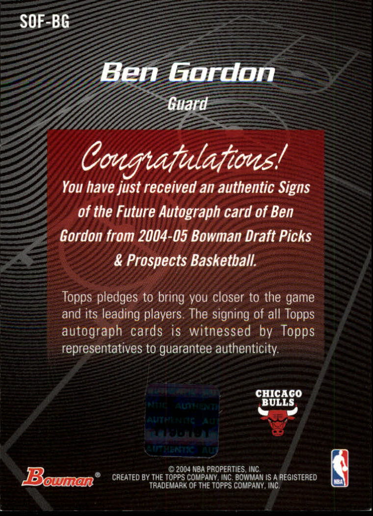 2004-05 Bowman Signs of the Future #BG Ben Gordon back image