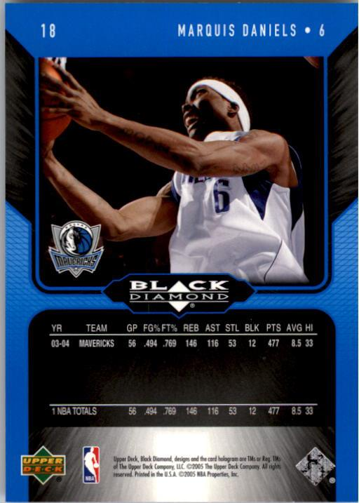2004-05 Black Diamond #18 Marquis Daniels back image