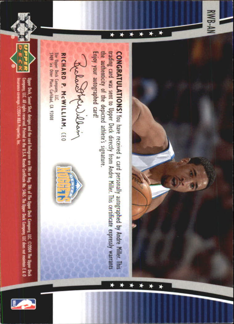 2004-05 Sweet Shot Signature Shots Stars and Stripes #AN Andre Miller back image