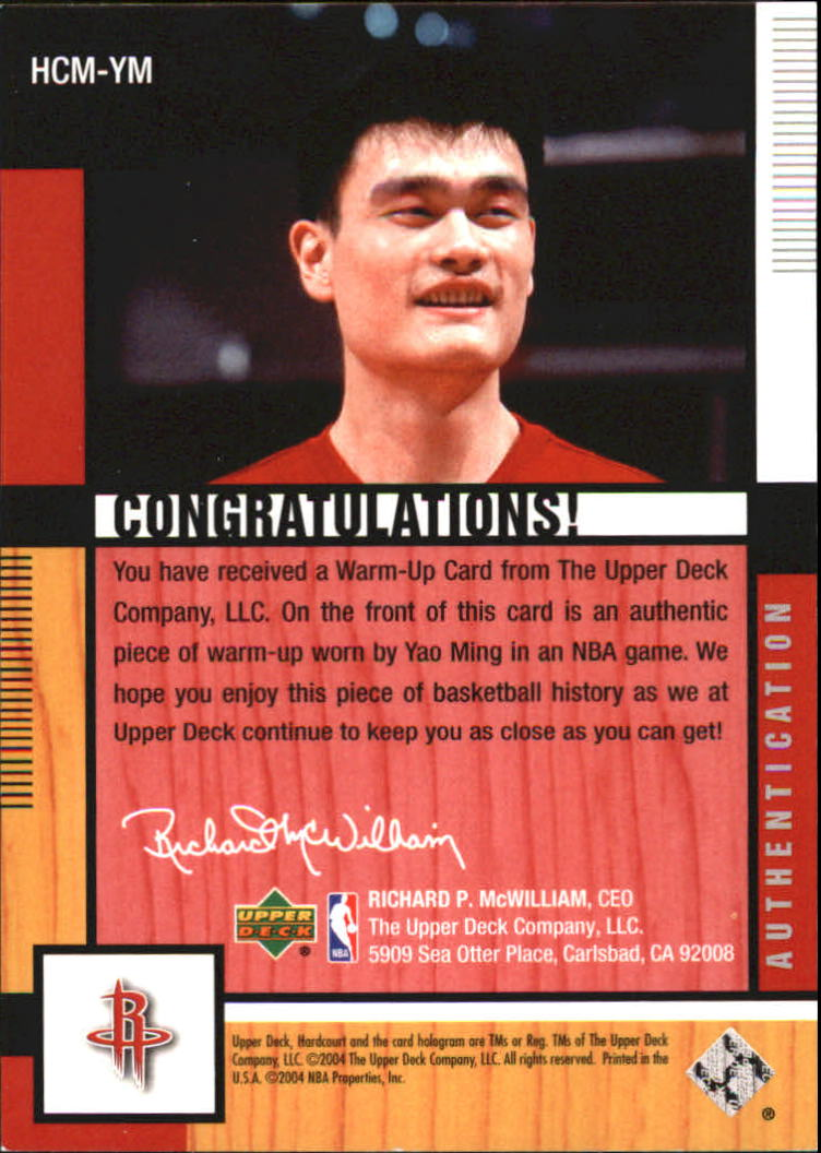 2004-05 Upper Deck Hardcourt Materials Combo #YM Yao Ming back image