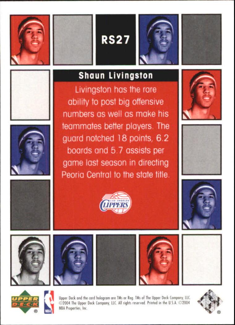 2004-05 Upper Deck Rookie Scrapbook #RS27 Shaun Livingston back image