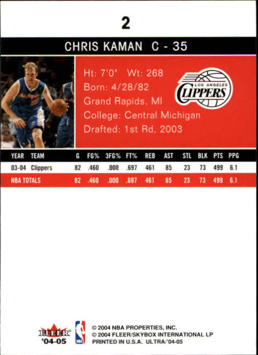 2004-05 Ultra #2 Chris Kaman back image