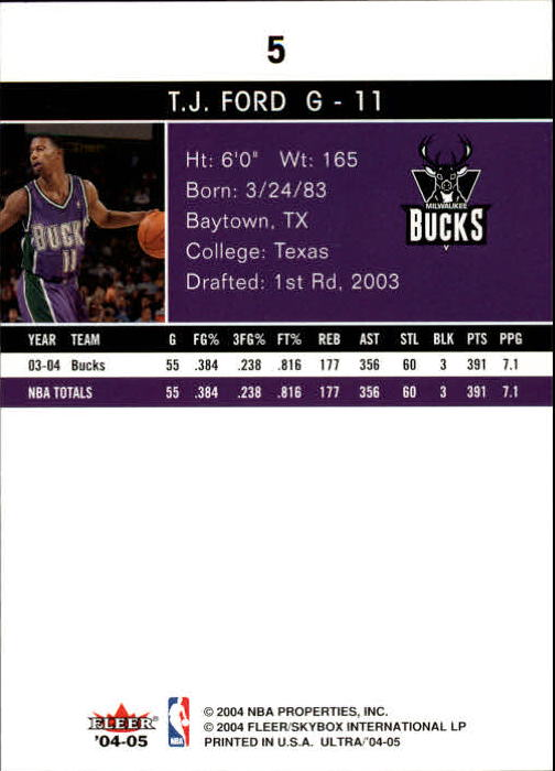 2004-05 Ultra #5 T.J. Ford back image
