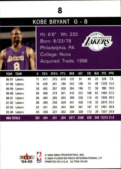 2004-05 Ultra #8 Kobe Bryant back image