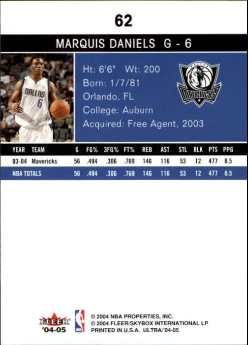 2004-05 Ultra #62 Marquis Daniels back image