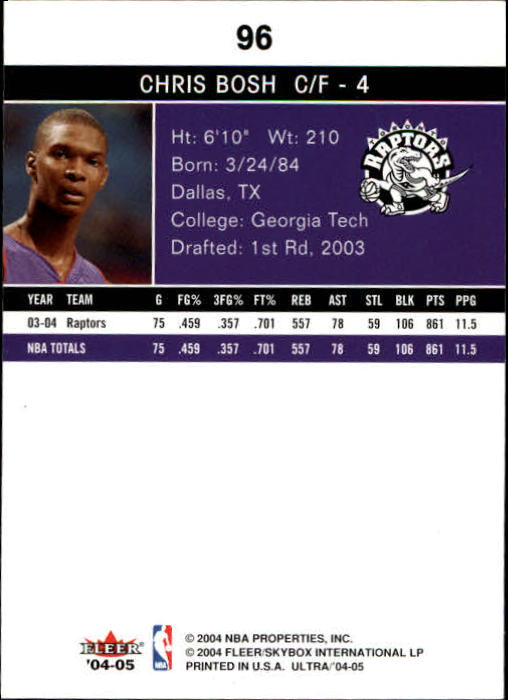 2004-05 Ultra #96 Chris Bosh back image