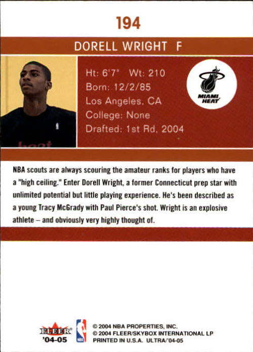 2004-05 Ultra #194 Dorell Wright RC back image
