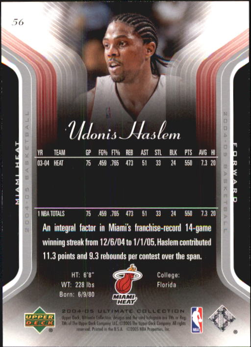 2004-05 Ultimate Collection #56 Udonis Haslem back image