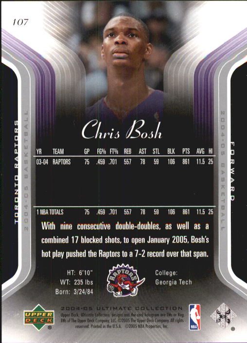 2004-05 Ultimate Collection #107 Chris Bosh back image